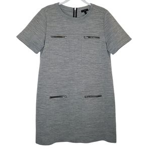 J.CREW Zip Pocket Heather Gray Wool Blend Shift Dress, Size: 14